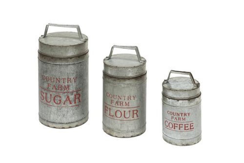 SET 3 PCS METAL CANS OLD STYLE