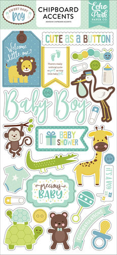 ECHO PARK - Sweet Baby Boy 6x13 Chipboard Accents