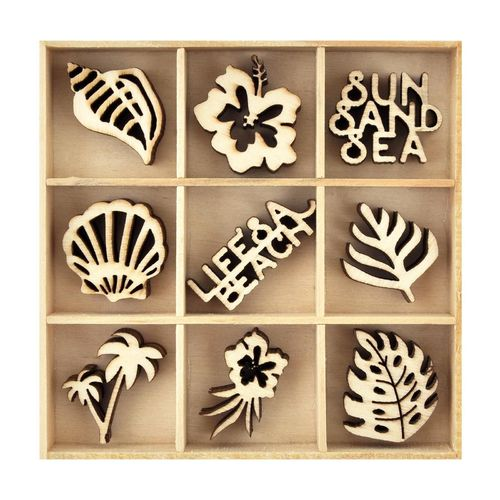 KAISERCRAFT FL594 wood  flourish Life's a beach