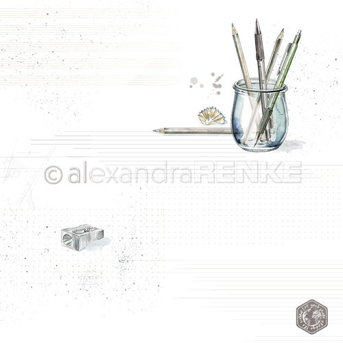 A. RENKE - Carta  'Pens in glass with pattern'