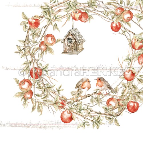 ALEXANDRA RENKE - 'Robins in an Apple Wreath'