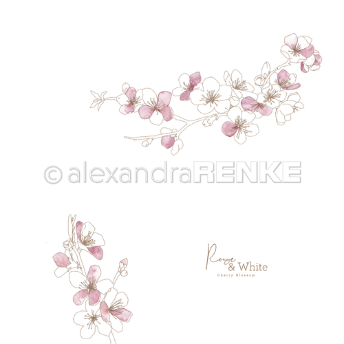 A. RENKE - Paper 'Rose & White cherry blossoms'