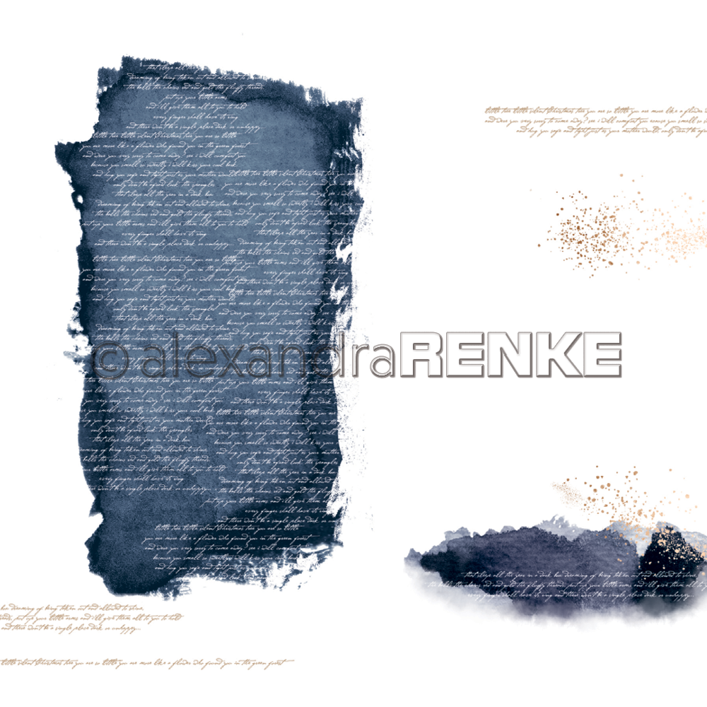 A. RENKE-paper ABSTRACT WATERCOLORS dark blue