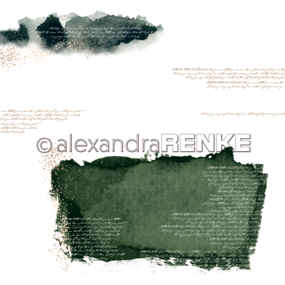 A. RENKE-paper ABSTRACT WATERCOLORS dark green