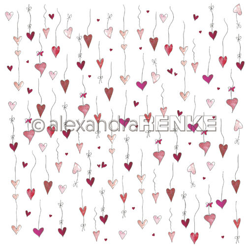 A. RENKE - Carta Hearts love  - hearts with thread