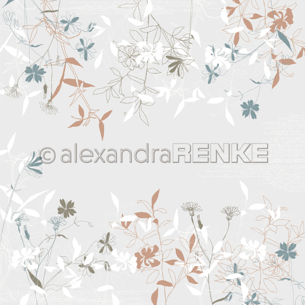 A. RENKE-Carta SPRING FLOWERS light grey-brown-green
